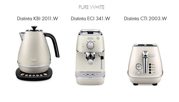 Raňajkový 3set DeLonghi Distinta WHITE + thermo controll